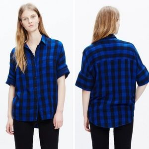 Madewell Courier Blue And Black Buffalo Check